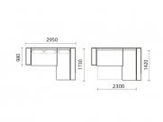 Фото3 Диван Байрон-М с оттоманкой (выкат в ситце, задняя стенка в основе) Угловые диваны
