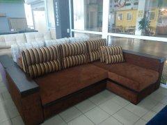 Фото Угловой диван Орфей (длинный бок), коричневый Прямые диваны