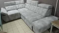Фото Угловой диван Давос (велюр серый) Прямые диваны