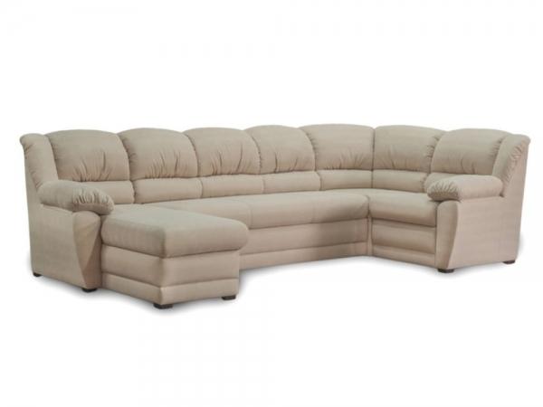 Угловой диван Юрмала с оттоманкой (выкат в ситце, задняя стенка в основе)