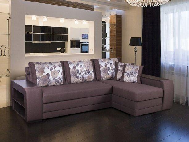 Фото Диван Байрон-М с оттоманкой (выкат в ситце, задняя стенка в основе) Угловые диваны