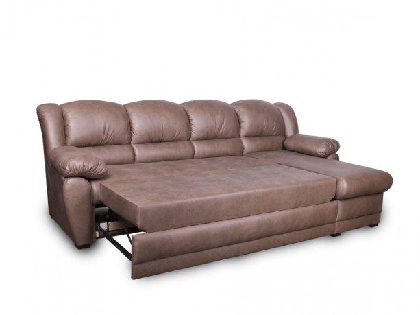 Фото Диван Юрмала с оттоманкой (выкат в ситце, задняя стенка в основе) Угловые диваны