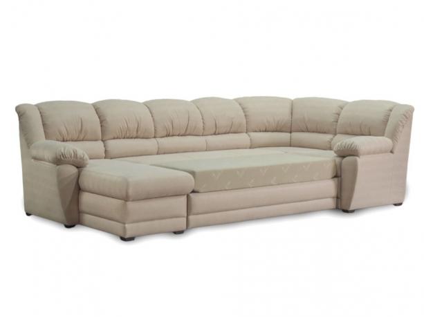 Фото Угловой диван Юрмала с оттоманкой (выкат в ситце, задняя стенка в основе) Угловые диваны